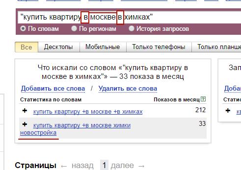 Оператор Яндекс.Директ кавычки